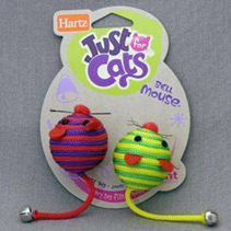 """Hartz JFC Bell Mouse / Игрушка Хартц для кошек мягкая """"Две круглых мышки с колокольчиками"""""""