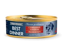 Заказать Best Dinner Super Premium / Консервы для собак Мясные деликатесы с Говядиной и языком Цена за упаковку по цене 1300 руб