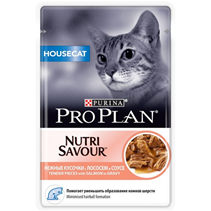 Purina Pro Plan Cat NutriSavour Housecat Salmon / Паучи Пурина Про План для Домашних кошек Лосось в соусе (цена за упаковку)