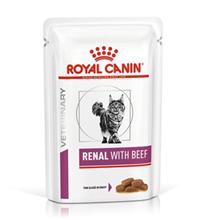 Royal Canin Renal with Beef / Ветеринарный влажный корм (Консервы-Паучи) Роял Канин Ренал для кошек Заболевание почек (хроническая почечная недостаточность) с Говядиной (цена за упаковку)
