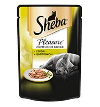 Заказать Sheba Pleasure / Паучи для кошек Ломтики в соусе с Уткой и Цыпленком Цена за упаковку по цене 580 руб
