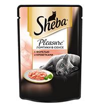 Заказать Sheba Pleasure / Паучи для кошек Ломтики в соусе с Форелью и Креветками Цена за упаковку по цене 580 руб
