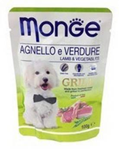 Monge Dog Grill Lamb / Влажный корм Паучи Монж Гриль для взрослых собак Ягненок с Овощами (цена за упаковку)