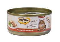 Мнямс Влажный корм Консервы для кошек Курица с Говядиной в желе (цена за упаковку)