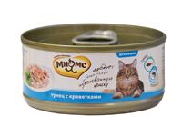 Мнямс Влажный корм Консервы для кошек Тунец с Креветками в желе (цена за упаковку)