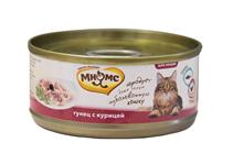 Мнямс Влажный корм Консервы для кошек Тунец с Курицей в желе (цена за упаковку)