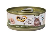 Мнямс Влажный корм Консервы для кошек Тунец с Макрелью в желе (цена за упаковку)