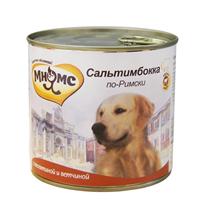 Мнямс Влажный корм Консервы для собак Средних и Крупных пород Сальтимбокка по-Римски Телятина с ветчиной (цена за упаковку)