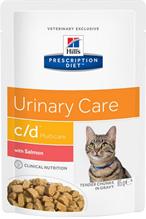 Hills Prescription Diet Feline c / d Salmon multiCare / Лечебные Паучи Хиллс c/d для кошек Mочекаменная болезнь Лосось (цена за упаковку)