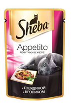 Заказать Sheba Appetito / Паучи для кошек Ломтики в желе с Говядиной и Кроликом Цена за упаковку по цене 710 руб