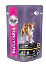 Eukanuba Dog Pouch Puppy Chicken / Влажный корм Паучи Эукануба для Щенков с Курицей в соусе (цена за упаковку)