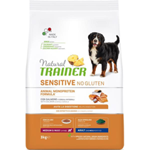 Trainer Natural Sensitive No Gluten Medium / Maxi Adult / Сухой Безглютеновый корм Трейнер для собак Средних и Крупных пород Лосось