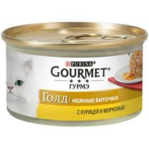 Gourmet Gold / Консервы Гурме Голд для кошек Нежные биточки Курица с морковью (цена за упаковку)