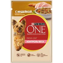 Purina One Dog Мини Контроль веса / Паучи Пурина Уан для собак Мелких пород Индейка Морковь Горох в подливе (цена за упаковку)