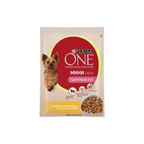 Заказать Purina One / Мини Здоровый вес Паучи для собак Мелких пород Индейка Морковь и Горох Цена за упаковку по цене 750 руб