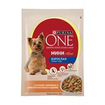 Заказать Purina One / Мини Взрослая Паучи для собак Мелких пород Курица Морковь и Зеленая Фасоль Цена за упаковку по цене 728 руб
