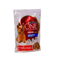 Заказать Purina One / Мини Взрослая Паучи для собак Мелких пород Говядина Картофель и Горох Цена за упаковку по цене 600 руб