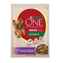 Заказать Purina One / Мини Активная Паучи для собак Мелких пород Утка Паста и Зеленая Фасоль Цена за упаковку по цене 600 руб