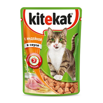 Заказать Kitekat / Паучи для кошек Индейка в соусе Цена за упаковку по цене 410 руб