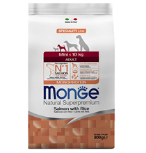 Monge Dog Speciality Mini Salmon & Rice / Сухой корм Монж Спешиалити для взрослых собак Мелких пород Лосось с рисом