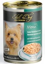 Edel Dog / Консервы Эдель Дог для собак Телятина и Кролик кусочки в Соусе Цена за упаковку