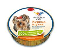 Счастливый Пес Консервы для собак Паштет Курица и Утка Цена за упаковку