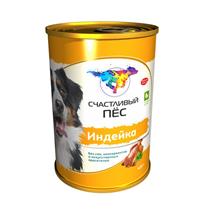 Заказать Счастливый Пес Консервы для Взрослых собак Индейка Цена за упаковку по цене 860 руб