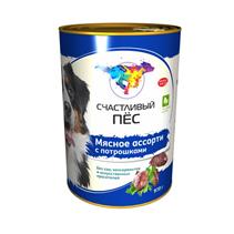 Заказать Счастливый Пес Консервы для Взрослых собак Мясное ассорти с потрошками Цена за упаковку по цене 860 руб