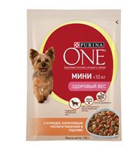 Заказать Purina One / Мини Здоровый вес Паучи для собак Мелких пород Курица Коричневый Рис и Томаты Цена за упаковку по цене 600 руб