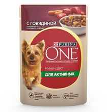 Purina One Dog Мини для Активных / Паучи Пурина Уан для собак Мелких пород Говядина Картофель и Морковь в подливе (цена за упаковку)