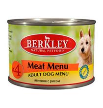 Berkley №4 Adult Meat Menu / Консервы Беркли для собак Ягненок с рисом (цена за упаковку)