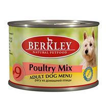 Berkley №9 Adult Poultry Mix / Консервы Беркли для собак Рагу из домашней птицы (цена за упаковку)