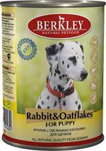 Berkley Puppy Rabbit & Oatflakes / Консервы Беркли для Щенков Кролик с овсяными хлопьями (цена за упаковку)