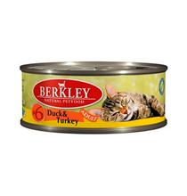 Berkley №6 Adult Duck & Turkey / Консервы Беркли для кошек Утка и Индейка (цена за упаковку)