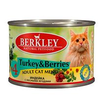 Berkley №4 Adult Turkey & Berries / Консервы Беркли для кошек Индейка с лесными ягодами (цена за упаковку)