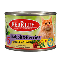 Berkley №5 Adult Rabbit & Berries / Консервы Беркли для кошек Кролик с лесными ягодами (цена за упаковку)