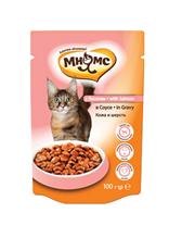 Мнямс Влажный корм Паучи для кошек Кожа и Шерсть Лосось в соусе (цена за упаковку)