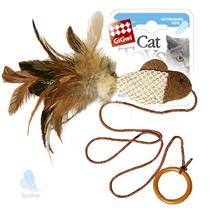 GiGwi Cat Toys / Игрушка Гигви для кошек Дразнилка на палец Рыбка с перьями на резинке с кольцом