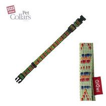 GiGwi Pet Collars / Ошейник для маленьких собак нейлон размер М Зеленый с орнаментом