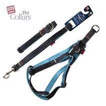 GiGwi Pet Collar Set / Набор Гигви Поводок-Ошейник размер L-Шлейка 40-55см Джинса & нейлон с Синими вставками 2х120см