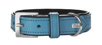 Hunter Capri / ошейник для собак натуральная кожа Бирюзово-Черный