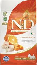 Заказать Farmina N&D GF Adult Mini Pumpkin Codfish & Orange / Беззерновой корм с Тыквой для собак Мелких пород Треска и Апельсин по цене 830 руб