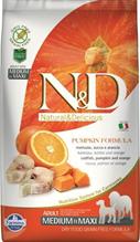 Заказать Farmina N&D GF Adult Medium&Maxi Pumpkin Codfish & Orange / Беззерновой корм с Тыквой для собак Средних и Крупных пород Треска и Апельсин по цене 2150 руб
