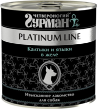 Четвероногий Гурман Platinum Line / Консервы Платиновая линия для собак Калтыки и языки в желе (цена за упаковку)