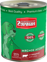 Четвероногий Гурман Мясное ассорти / Консервы для собак с Говядиной (цена за упаковку)