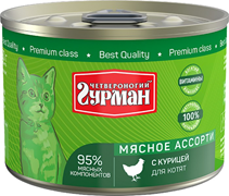 Четвероногий Гурман Мясное ассорти / Консервы для Котят с Курицей (цена за упаковку)