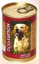 Dog Lunch / Консервы для взрослых собак ДогЛанч Мясное ассорти в Желе