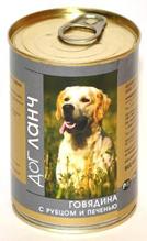 Dog Lunch / Консервы для взрослых собак ДогЛанч Говядина с Рубцом и печенью в Желе