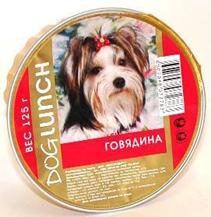Dog Lunch / Консервы для взрослых собак ДогЛанч Говядина Крем-суфле Ламистер