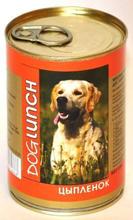 Dog Lunch / Консервы для взрослых собак ДогЛанч Цыпленок в Желе